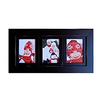 3 opening collage frames 4x6 black multi photo frame triple frame hangs horizontally or