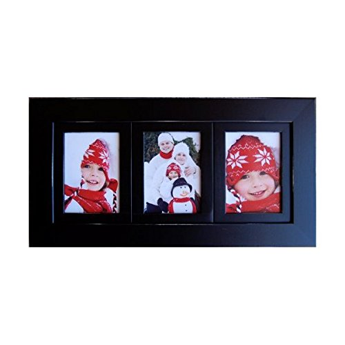 amazoncom 3 opening collage frames 4x6 black multi photo frame triple frame hangs horizontally or vertically on wall picture frame sets