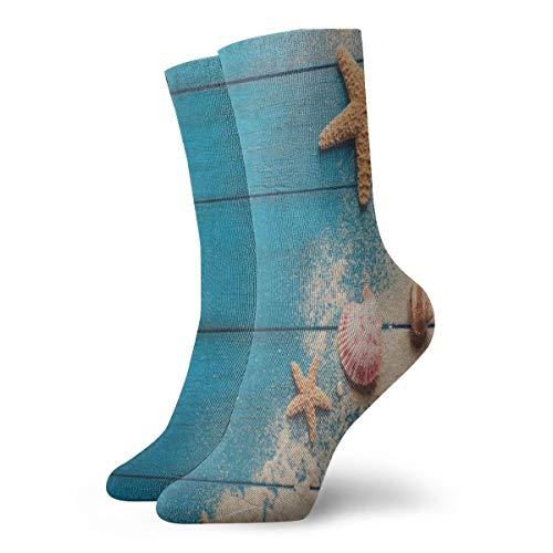 Crew Socks Blue Wooden Sand Rope Sea Shell Starfish Stylish Unisex Short Boot Stocking Party Sock Clearance for Girls - Sand Lenox