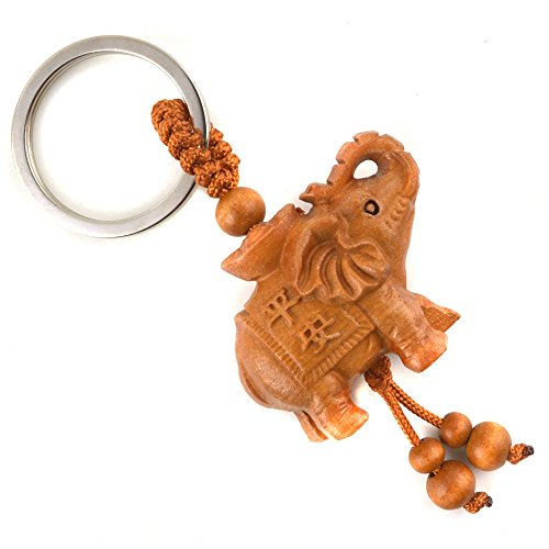 - JewelBeauty Cute Hand Carved Wooden Elephant Key Ring,Keychain, Key Holder Keychain