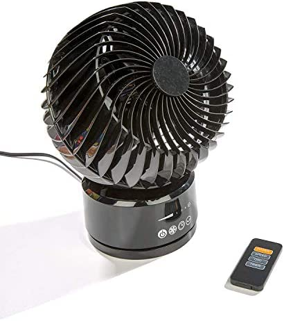 Comfort Zone CZ106RBK, 6-Inch Digital Touch Oscillating Globe Fan with Remote, Black