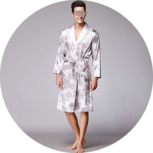 JIESENGTOO Mens LuxuryBathrobe Kimono Robes V-Neck Faux Silk Male Sleepwear Nightwear Male Satin Bath Robe,Gray A,L