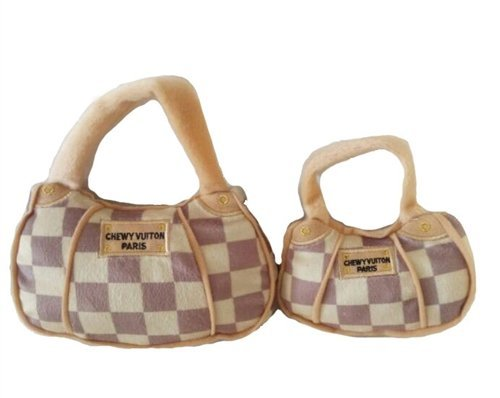 Haute Diggity Dog Brown Checkered Chewy Vuiton Handbag Toy, Large