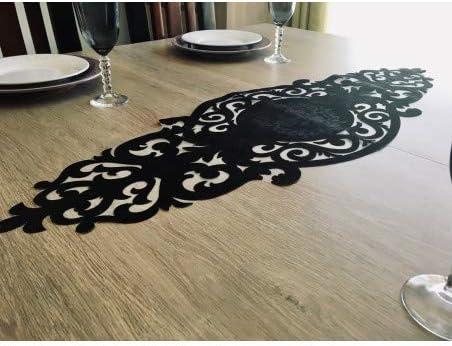 Camino de mesa, diseño de rosas, color negro: Amazon.es: Hogar