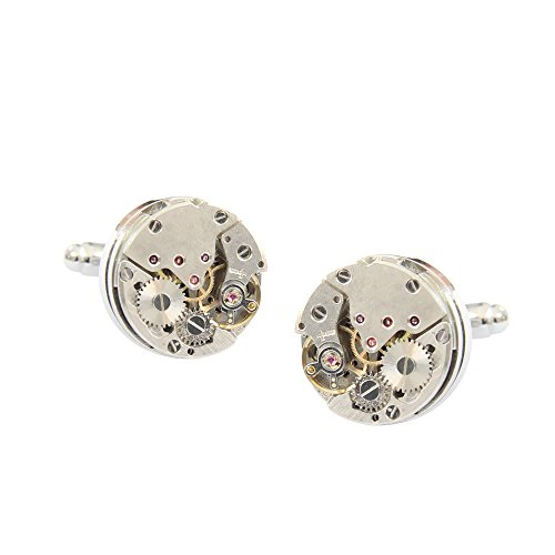 YEAHBEER Vintage Steampunk Round Mechanical Cuff Links Gears Round Mechanical Cufflinks with Box (Mechanical Watch Cufflinks)