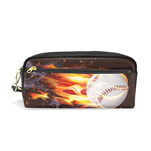 TropicalLife Fire Baseball Sport Pencil Case with Zipper PU Leather Large Capacity Stationery Pouch Cosmetic Makeup Bag
