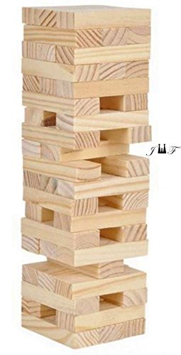 Tower Wood Block Stacking Game PLAY ANY TIME AND ANYWHERE YOU LIKE-48 Stackable Wooden Blocks, Fully Assembled, Durable Natural Wooden - Yard Tower