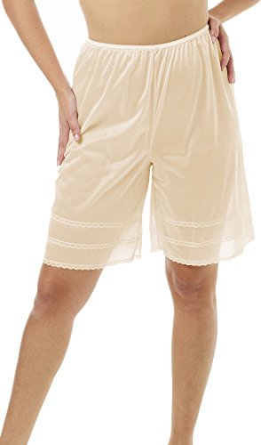 Underworks Snip-A-Length Pettipants Culotte Slip Bloomers Split Skirt Large-Beige