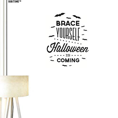 BIBITIME Brace Yourself Halloween is Coming Quotes Wall Decals Black Bats Vinyl Stickers for Living Room Porch Front Door Shop Store Window Sticker Nursery Children Kids Room Holiday Theme Decor]()