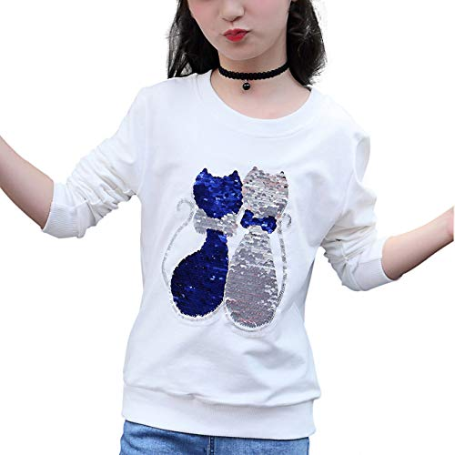 OWMMIZ Children's Magic Sequin Long Sleeve Sweatshirt Flip Sequin Print Cotton Clothes Pullover Top for Boys and Girls by OWMMIZ