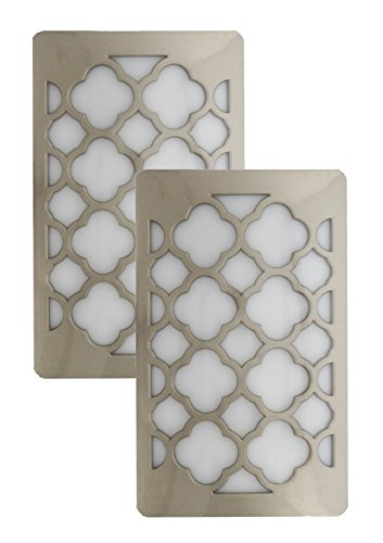Cover Bedroom Outlet (Westek by Amertac Decorative Plug In Night Light - LED Light Cover with Auto Dusk Dawn Sensor - Ideal for the Hallway, Bedroom, Bathroom, Warm Light - Hides Unused Outlet Plugs - Nickel Finish, 2 Pack)