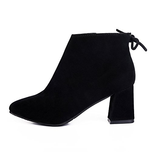 fereshte Ladies Women's Fashion Suede Pointed-Toe Mid Heels Casual Back Lace Ankle Boots Black (Fleece Lined) 6JRH1TGsP5