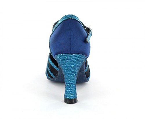 Toe Shoes Flared 8cm Heel Heel Rhinestones Style2 MGM Mesh Single Evening Women's Dance Blue Wedding Salsa Joymod Starp Satin Colsed Dark Tango Latin Sandals Ballroom Modern X4xYTvq