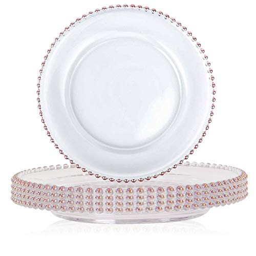(Tiger Chef 12-inch Round Rose Gold Round Beaded Glass Charger Plates Set of 2,4,6, 12 or 24 Dinner Chargers)