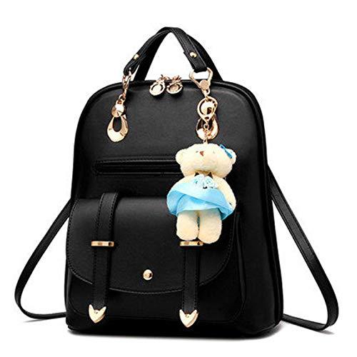 Shoulder College Bag PetHot PU Leather Girl Black Backpack Travel wxOORYqnIg