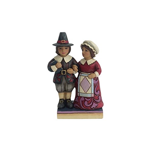 Enesco Jim Shore Heartwood Creek Mini Pilgrim Couple Stone Resin, 3.5