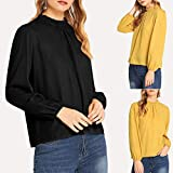 Blouses for Womens,DaySeventh Fashion Womens Solid Pleated Round Neck Tops Long Sleeve Leisure T-Shirt Blouse