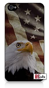 Distressed America National Flag USA with Bald American Eagle iPhone 5 Quality Hard Snap On Case for iPhone 5/5S - AT&T Sprint Verizon - Black Frame