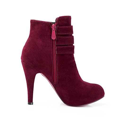 Red AIWEIYi Boots Round Buckles Ankle Winter Womens Toe Heels High Print UqwraUFvR