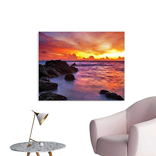 J Chief Sky Coastal Decor Custom Poster Tropical Beach Sunset Golden Clouds Stones Calm Sea Summer Seaside Scene Wall Stickers Home Decoration W24 -
