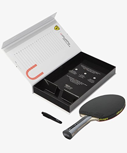 Killerspin Diamond TC RTG Premium Ping Pong Paddle| Table Tennis Racket| Flared Handle Ping Pong Bat| 7-Ply Wood/Titanium Carbon Blade, Fortissimo Rubbers| ITTF Approved| Memory Book Gift Storage Case