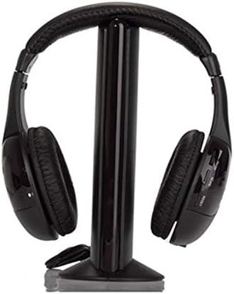 Tiamu Auriculares de Diadema inalambricos para HDTV, TV, VCD, PC, MP3, MP4, CD y DVD (5 en 1, Hi-Fi, con Radio FM), Color Negro