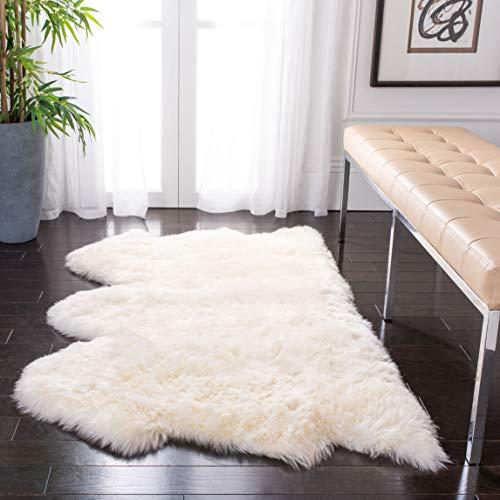 Safavieh Sheepskin Collection SHS121A Genuine Sheepskin Pelt White Premium Shag Rug (3'7