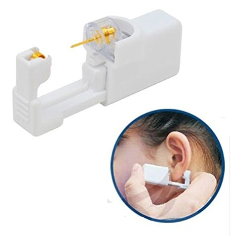 New Ear Piercing Gun Disposable Sterile Ear Nose Piercing Kit Tool Stud Safety Portable Ear Piercing Kit  Gold White