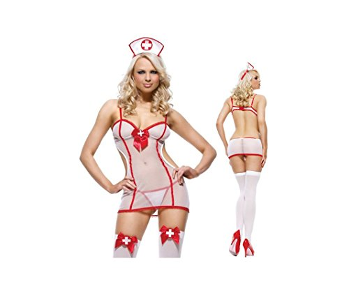 [RuSong Women Taste Game Uniform Sexy Lingerie with Cap-Nurse] (Madonna Costume Plus Size)