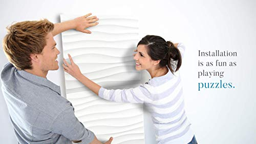 Wall Puzzle by Urban Decor - Easy Peel & Stick 3D Decorative Panels for Home and Business (32sqft/Box, Wall Puzzle) (Wave) by Urban Decor MagicWood (Image #2)