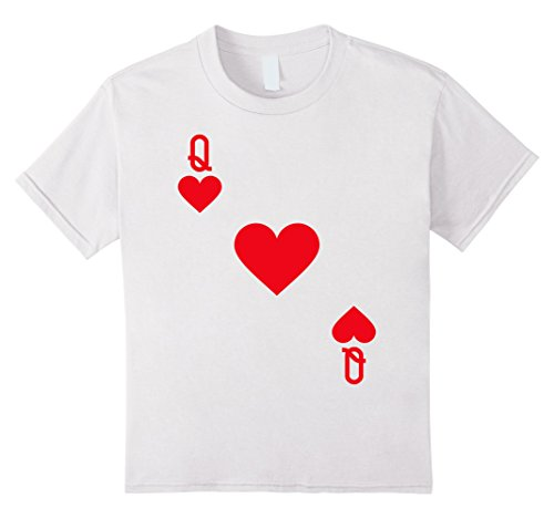 Casino Themed Costume - Kids Queen of Hearts Costume T-Shirt Halloween Deck of Cards 8 White