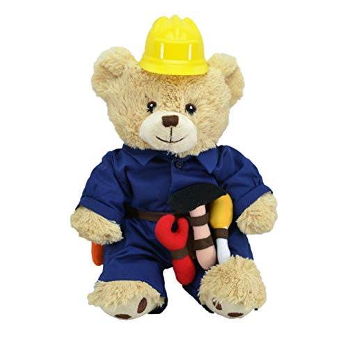 CustomizedbyBilgin Limited Edition Plush Toys in Duty! Policeman, Fireman, Chef, Soldier, Handyman Bear and Cute Dog Amazing Gift for Kids and Adults (Handyman -