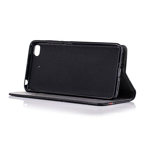 Xiaomi 5S casos, estilo británico de diseño de rayas Flip PU funda de cuero con la ranura de tarjeta para Xiaomi Mi5S ( Color : White ) Black