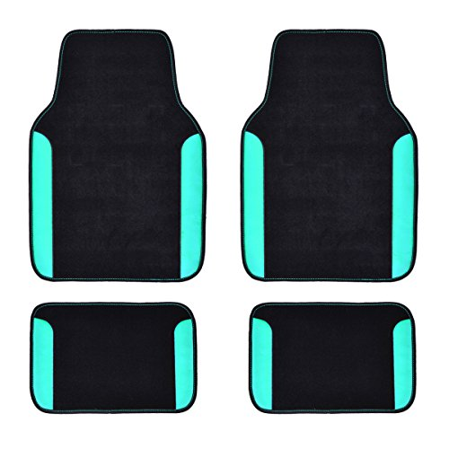 CAR PASS Rainbow Waterproof Universal Fit Car Floor Mats, Fit for SUV,Vans,sedans, Trucks,Set of 4(Black with Mint) (Best Waterproof Car Floor Mats)