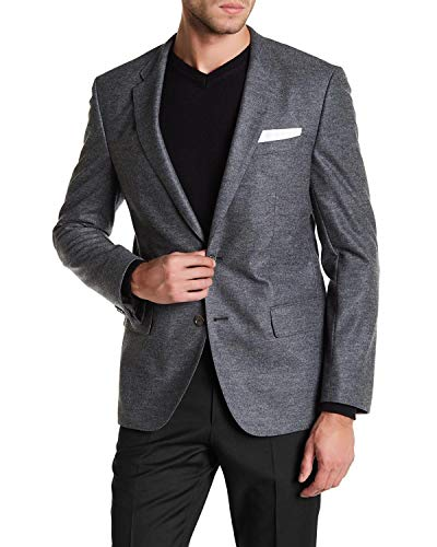 Hugo Boss Mens Hadley4 Trim Fit Wool Blend Flannel Sportcoat 46R Gray Blazer