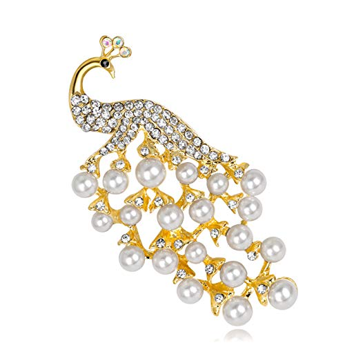 T-Perfect Life Silver-Tone and Gold-Tone Full Austrian Crystal Peacock Brooch Pin (Gold+Pearl)