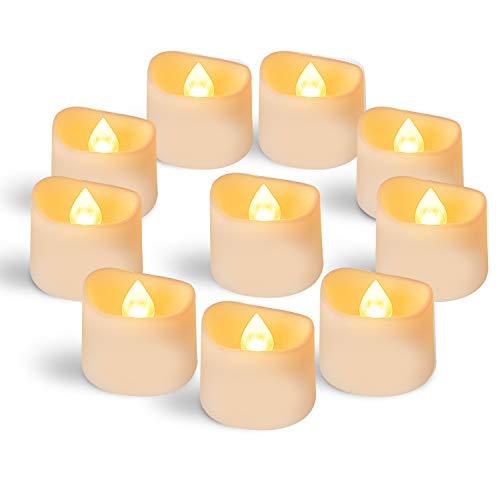 Homemory Battery Tea Lights Bulk, Set of 12 Bright Warm Yellow Flameless LED Tea Candles, Electric Tea Lights with Flickering, Long-Lasting Battery Life, 1.4'' D X 1.25'' H (Holders Orange Light Tea)