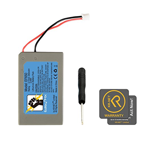 KR-net Easy2Fix 650mAh Replacement Battery for Sony PlayStation PS3 PS4 Gold Wireless Headset, with Tool