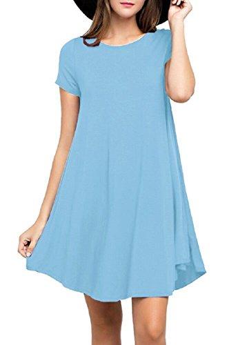 - Viishow Women's Swing Dress Casual Loose T-Shirt Dress (XL, Light Blue)