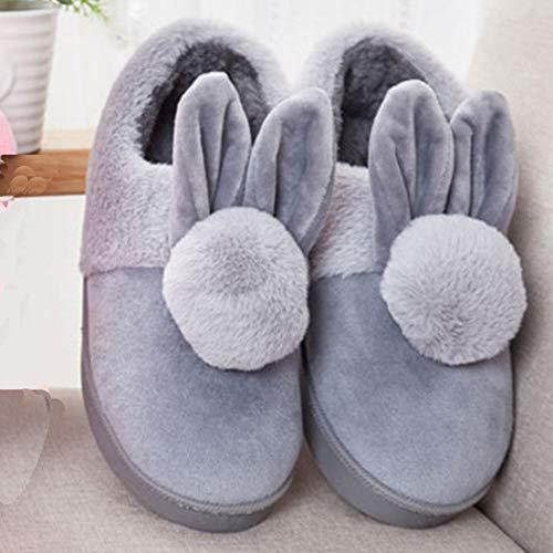 Carino Donne Peluche Scivolano Casa Del Coniglio Cartoon Slipper Grigio Shoes Pantofole Signore H1aw1Fnpq