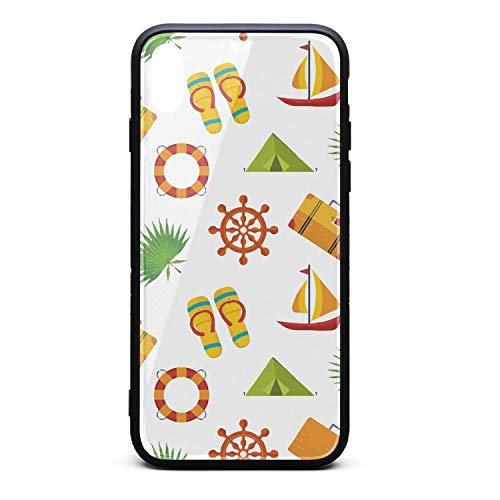 Hiunisyue iPhone Xs Max Case White Summer Holiday Beach Party 9H Tempered Glass Back Cover Soft TPU Frame Scratch Resistant Shock Absorption Cover Case Compatible for iPhone Xs -