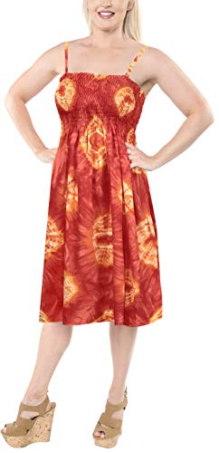 LA LEELA Soft  Printed Casual Swimwear Stretchy Tube Dress Orange 1098 One Size by LA LEELA