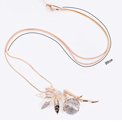 Butterfly Crystal Necklace,Han Shi Luxury Lovely Wings Sweater Long Chain Necklace Jewelry