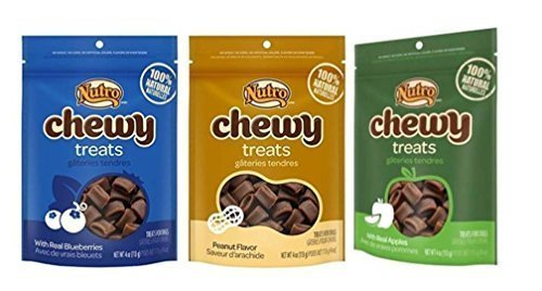 Nutro All Natural Chewy Training Treats For Dogs 3 Flavor Variety Bundle: (1) Chewy Treats Peanut Flavor, (1) Chewy Treats w/Real Blueberries, and (1) Chewy Treats w/Real Apples, 4 Oz. Ea. (3 Bags)