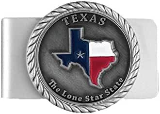 Texas Lone Star State Color Flag Money Clip with Raised Emblem