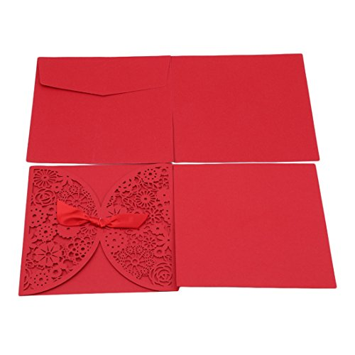 UNKE 25 Pcs Elegant Invitations Cards Kits, Square Laser Cut Lace Semicircle Flower Pattern Wedding Party Invitations Cards with Envelopes,Red
