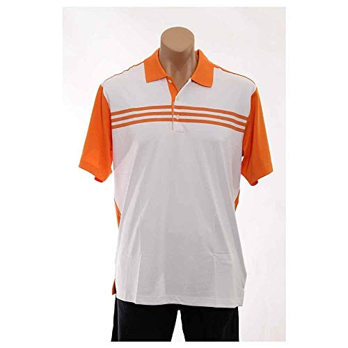 (adidas Golf Men's Climacool 3-Stripes Color Block Polo Shirt, White/Sunset, Large)
