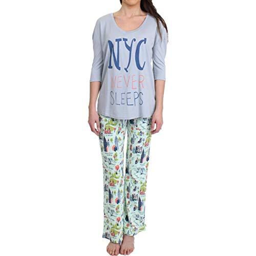 munki munki Women's Jersey 3/4 Sleeve Slouchy Tee and Pant Set, Mint New York City, L]()
