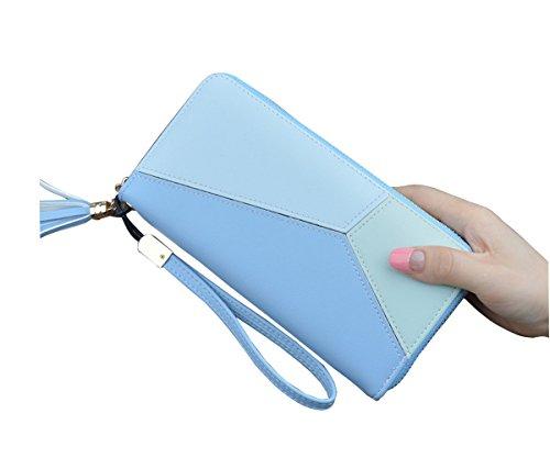 Damen Geldbörse Multi-Card Position PU Leder Geldbeutel Geldbörse Mappe Elegant Damen Quaste Handtasche (Schwarz) Blau