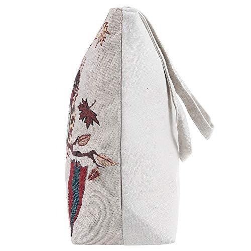 Basic Embroidered Tote Owl Bag Canvas Couple Cotton Shoulder Ililily Blend a6TwZwq